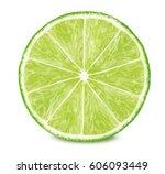 slice of lime isolated on white ... | Shutterstock . vector #606093449