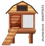 animal coop on white background ... | Shutterstock .eps vector #606095651