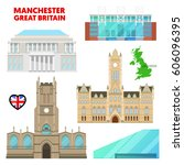 manchester travel set with... | Shutterstock .eps vector #606096395