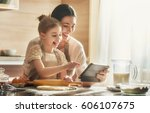happy loving family are... | Shutterstock . vector #606107675
