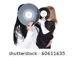 big and little girls with vinyl discs - stock photo
