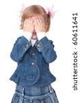 girl hide face under hands. play hide-and-seek - stock photo
