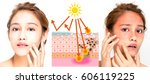 woman using sunscreen and woman ... | Shutterstock . vector #606119225