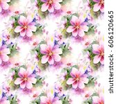 floral seamless pattern with... | Shutterstock . vector #606120665