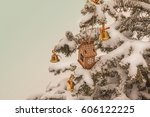 Toy House And Bells On A Snow...