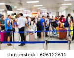 abstrack blur people check in... | Shutterstock . vector #606122615