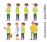 pregnant woman character set.... | Shutterstock . vector #606129881