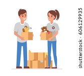 young volunteers with  donation ... | Shutterstock . vector #606129935
