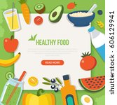 healthy food and diet concept... | Shutterstock . vector #606129941