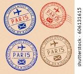 collection of paris postal... | Shutterstock .eps vector #606131615