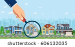 magnifying glass with house.... | Shutterstock .eps vector #606132035