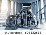 blurred business people rushing ... | Shutterstock . vector #606132695