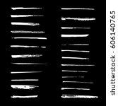 set of white ink brush strokes  ... | Shutterstock .eps vector #606140765