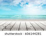 old wood table top on blurred... | Shutterstock . vector #606144281