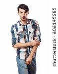 half length portrait of... | Shutterstock . vector #606145385