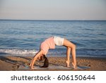 the girl is engaged in fitness... | Shutterstock . vector #606150644