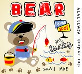 bear fishing time  kids t shirt ... | Shutterstock .eps vector #606151919