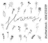 sweet vector flowers hand drawn ... | Shutterstock .eps vector #606153359