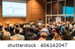 speaker giving a talk in... | Shutterstock . vector #606162047