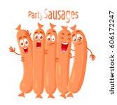 vector set of cartoon sausages... | Shutterstock .eps vector #606172247