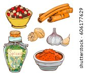 spices seasoning hand drawn... | Shutterstock .eps vector #606177629