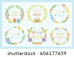 happy easter hand drawn badge... | Shutterstock .eps vector #606177659