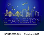minimal charleston linear city... | Shutterstock .eps vector #606178535