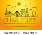 minimal charleston linear city...   Shutterstock .eps vector #606178571