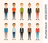 set of men characters. vector... | Shutterstock .eps vector #606183395
