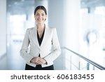 happy elegant business woman in ...   Shutterstock . vector #606183455