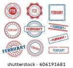 set of various february month... | Shutterstock .eps vector #606191681