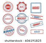 set of various august month... | Shutterstock .eps vector #606191825
