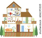 layout of the single family... | Shutterstock .eps vector #606195335