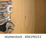 various sizes of spanner wrench ... | Shutterstock . vector #606196211