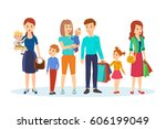 groups of families with... | Shutterstock .eps vector #606199049