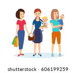 family shopping concept. young... | Shutterstock .eps vector #606199259