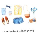 watercolor illustrations of... | Shutterstock . vector #606199694