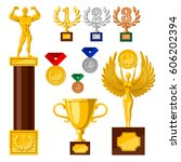 set of awards  medals cups... | Shutterstock .eps vector #606202394