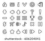linear symbols set. vector... | Shutterstock .eps vector #606204041