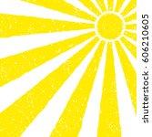 yellow sun background. hand... | Shutterstock .eps vector #606210605