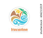 summer travel vacation vector... | Shutterstock .eps vector #606211019