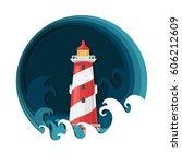 lighthouse flat vector...   Shutterstock .eps vector #606212609
