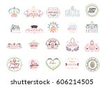 typographic badges   happy... | Shutterstock .eps vector #606214505
