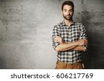 portrait of man in checked... | Shutterstock . vector #606217769