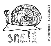 coloring pages for kids. snail. ... | Shutterstock .eps vector #606218195