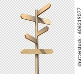 wooden signpost on transparent... | Shutterstock .eps vector #606219077