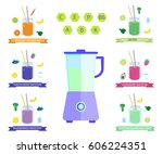 healthy smoothie set with... | Shutterstock .eps vector #606224351