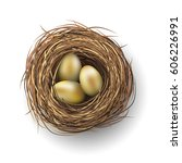 nest with three golden eggs on... | Shutterstock .eps vector #606226991