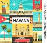 havana poster concept. vector... | Shutterstock .eps vector #606227744