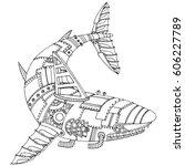 steam punk style shark.... | Shutterstock .eps vector #606227789